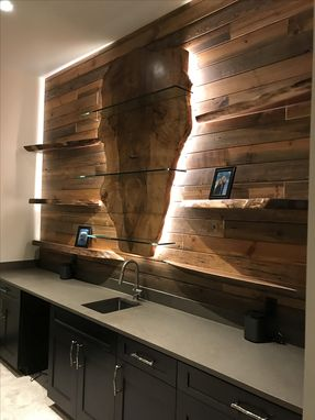 Custom Made Live Edge Wall Shelving And Led Lighting