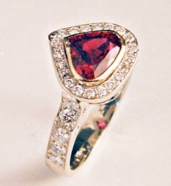 Custom Made Ruby Diamond  Halo Engagement Ring