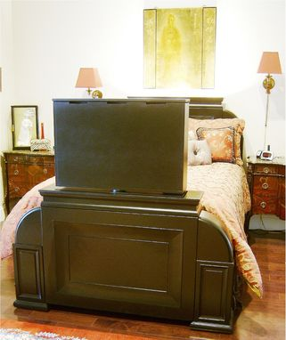 Custom Made Soft Black Asian Bed With Automated Jsd Tv-Lift & Swivel