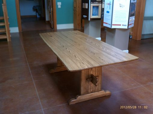 Custom Made Oak Live Edge Trestle Dining Table