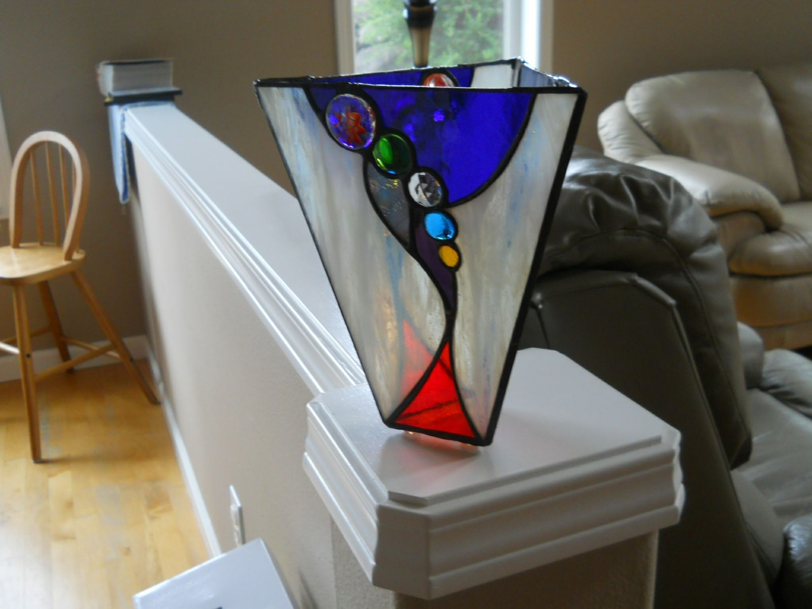 Custom stained glass vase with glass nuggets and jewel by chapman custom made stained glass vase with glass nuggets and jewel reviewsmspy