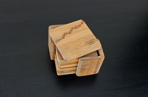 Custom Made Custom Bamboo Coasters, Custom Engraved Coasters --Cst-Bam-Watkins Leaf