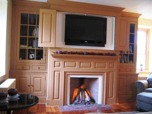 Custom Made Farmhouse Mantel Wall With Tv Enclosure