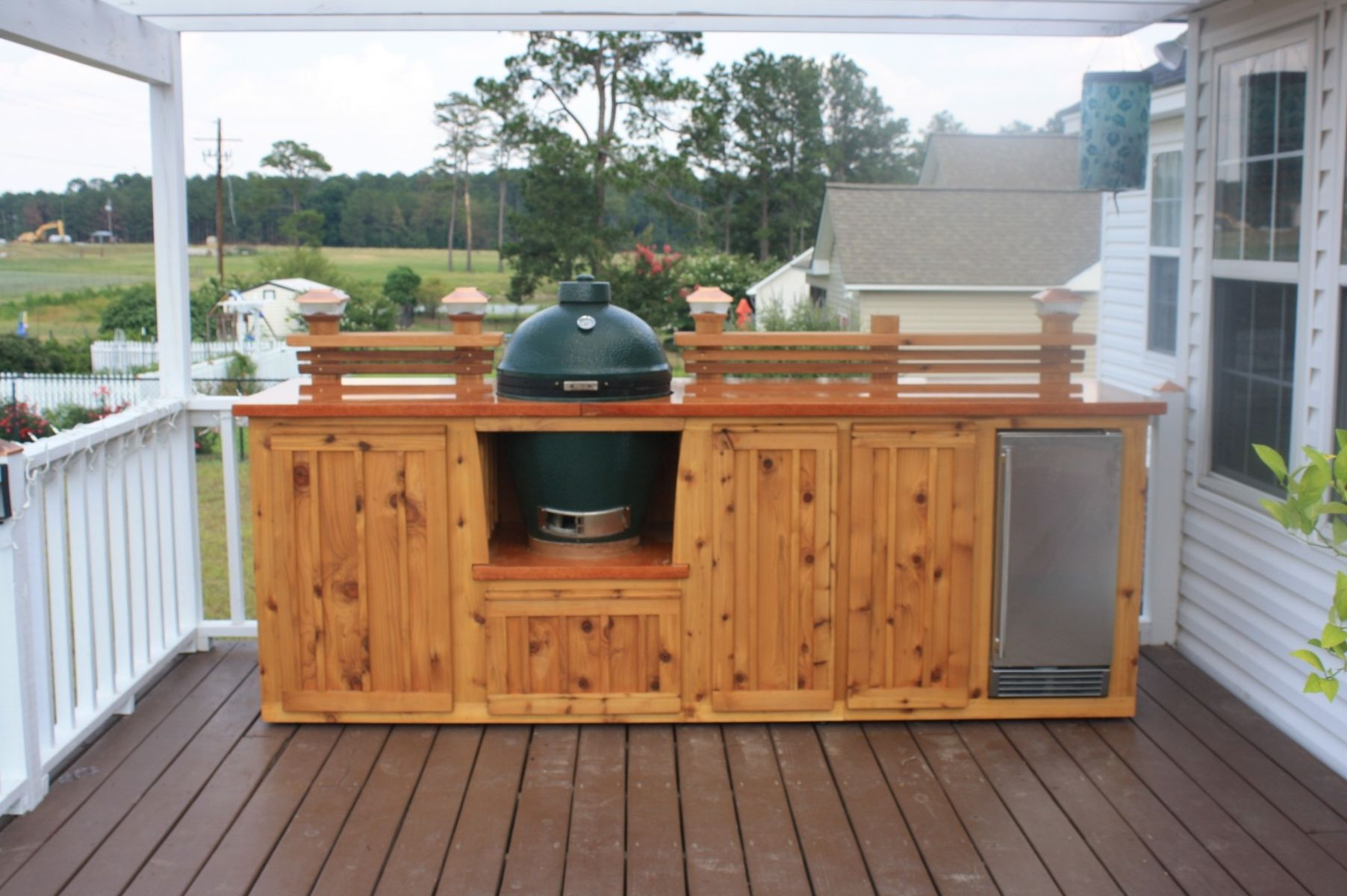 Handmade custom green egg kitchen by deck kitchen for Outdoor grill cabinet design