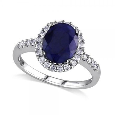Custom Made 3.90ct Oval Blue Sapphire & Halo Diamond Engagement Ring - 14k W. Gold