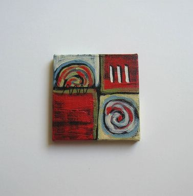"Custom Made Abstract Miniature Painting Original Acrylic Mini Canvas With Red Background- ""Red Circles"""