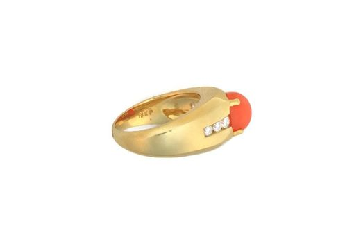 Custom Made Woman's Oval Coral & 0.38 Ct. Diamond Ring - 18k Yellow Gold - Refreshing Light Orange Coral Gem
