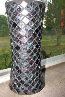 Custom Made Stained Glass Mosaic Vase / Candle Holder In Blue/ Green/ Purple Van Gogh & Purple Mirrored Glass