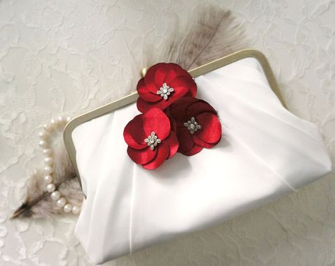 Custom Made Art Deco Clutch Purse With Handmader Red Satin Flower Accents