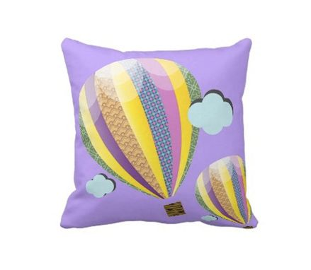 Custom Made Air Balloon Pillow - Baby Room Pillow - Colorful Air Balloon Pillow