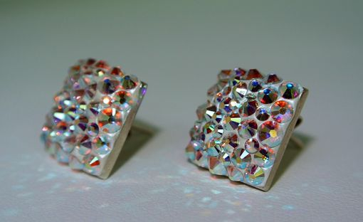 Custom Made Swarovski Crystal Square Sterling Silver Stud Earrings