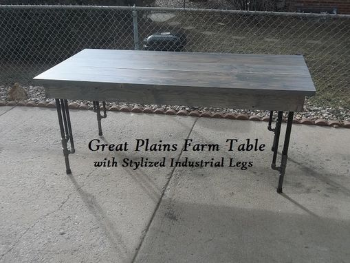 Custom Made Rustic Farm Table With Stylized Industrial Legs.