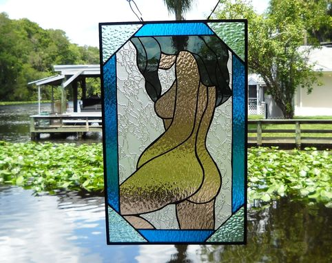 Custom Made Stained Glass Panel Totally Nude Woman Stained Glass Window