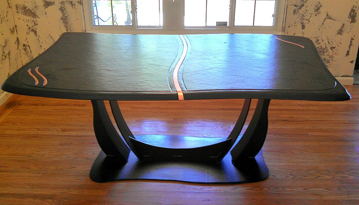 Buy A Handmade Brazilian Slate Dining Table With Copper Inlay Made - Dining table with slate inlay