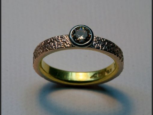 Custom Made Textured Rose And Yellow Engagement Ring