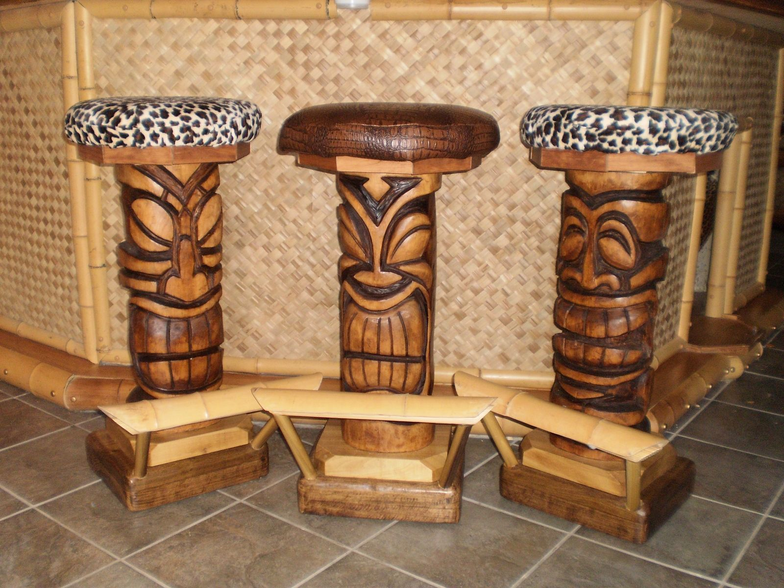 handmade custom tiki bar stools for business by belly up