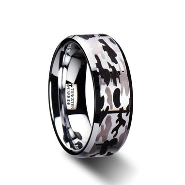 Custom Made Armistice Beveled Tungsten Carbide Ring With Black And Gray Camo Pattern - 8mm