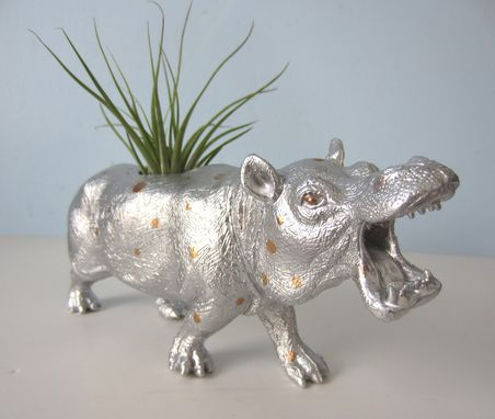 Custom Made Upcycled Toy Planter - Extra Large Silver And Gold Polka Dot Hippo With Air Plant