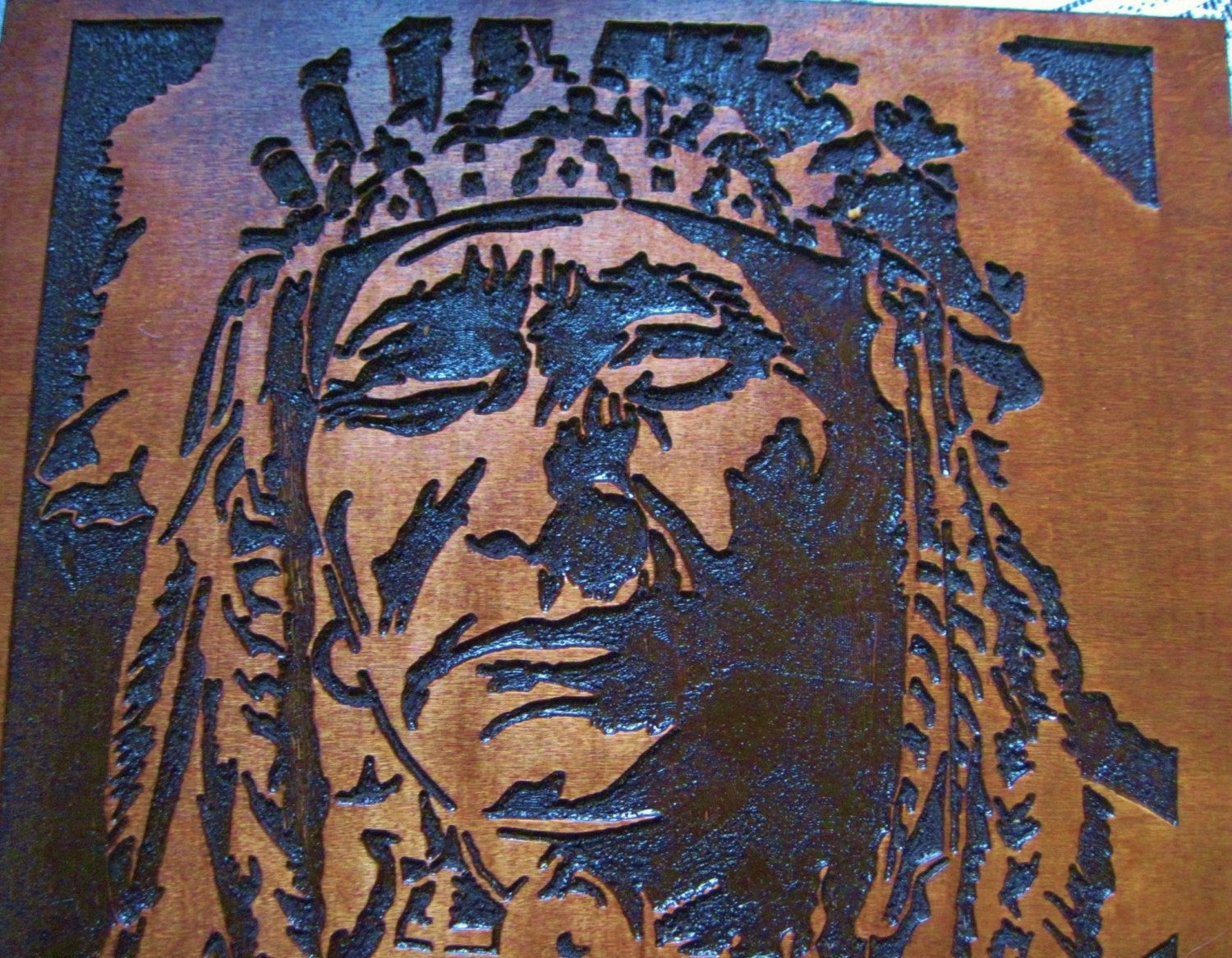Custom Made Native American Indian Chief Handmade Wood Carving Wall