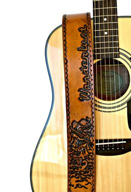 Custom Made Ship In Stormy Waters Hand Tooled Leather Guitar Stap