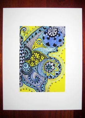 Custom Made Butterfly Fine Art Print- Yellow Purple Blue Ink And Acrylic Painting