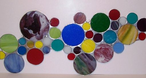 Custom Made Contemporary Stained Glass Panel Bubbles / Wall Decor (P-17)