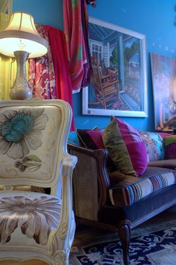 Custom Made Upholstered Vintage Cameo Chairs Sofa Painted Chair Lampshades,Interior Design Project