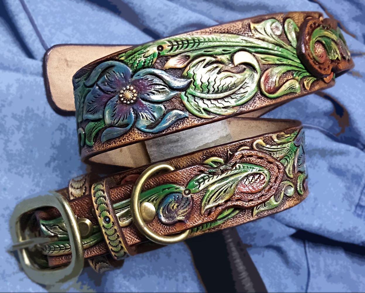 bdf12faded20 Buy Custom Dog Collar Ranger Hand Tooled, Hand Carved, Big Flowers ...