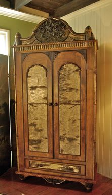 Custom Made Adirondack Rustic Armoire With Carvings