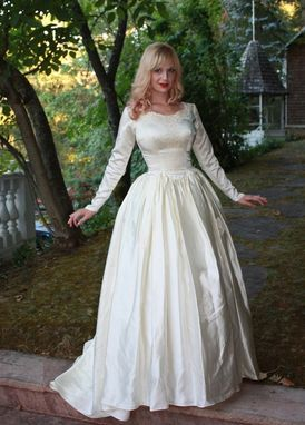 Custom Vintage 1950s Silk Satin Wedding Dress Princess Ball Gown ...