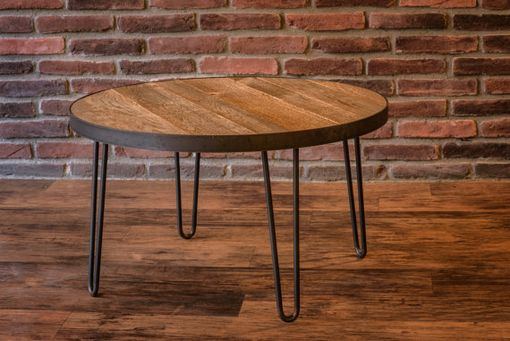 Custom Made Reclaimed Wood Table - 30 Inch Round - Industrial Steel Band