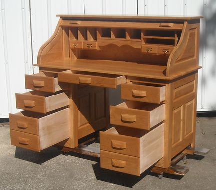 Custom Made Cherry Roll Top Desk Natural Finish