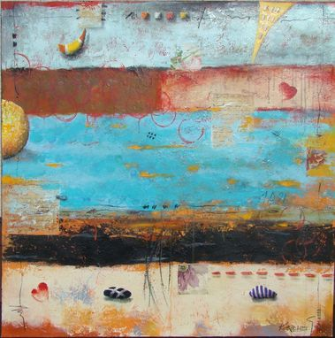 Custom Made Original Mixed Media Painting In Orange, Yellow, And Blue