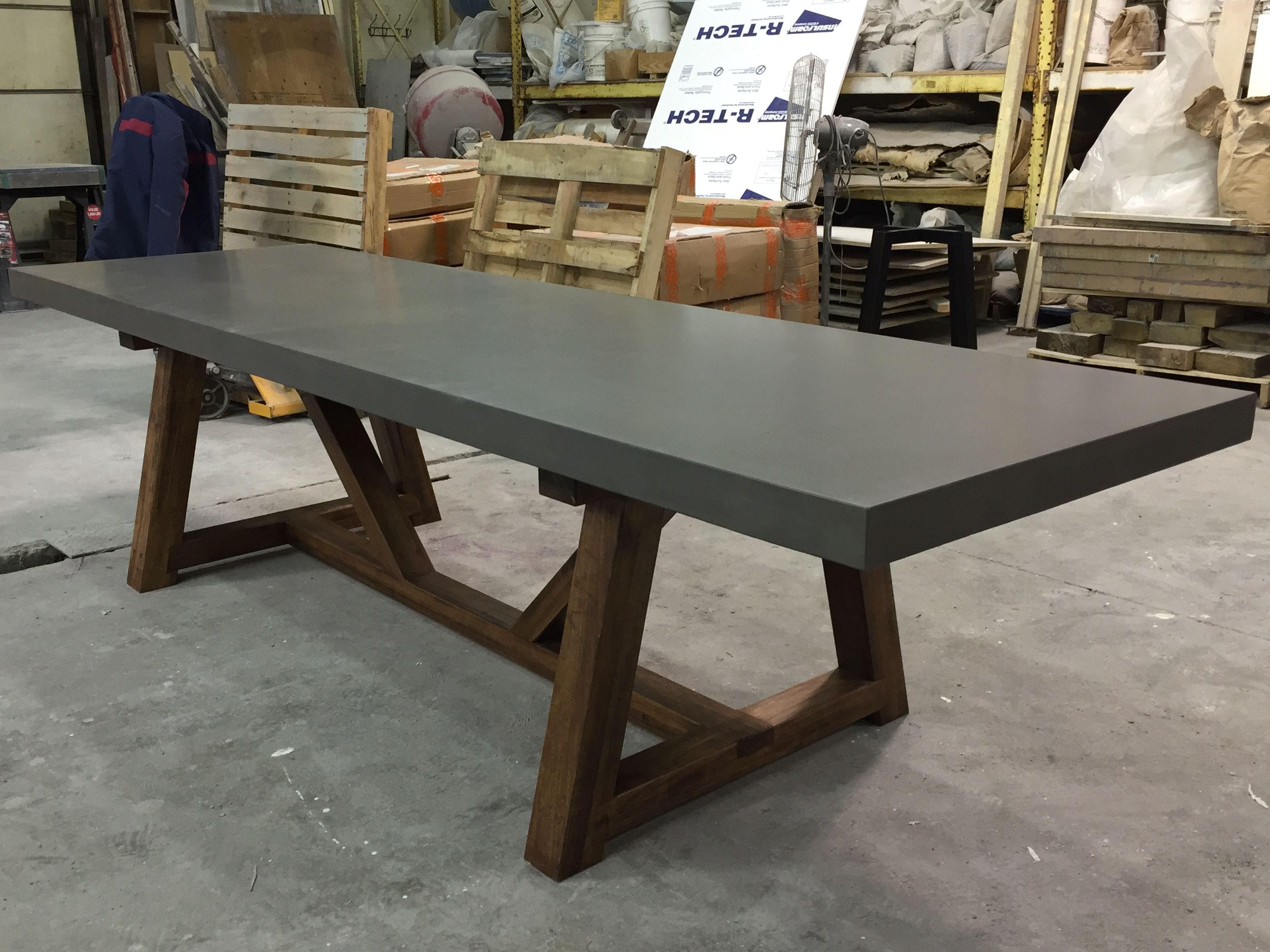 Dining And Kitchen Tables Farmhouse Industrial Modern - Extendable concrete dining table