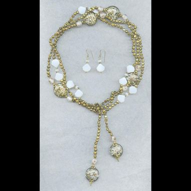 Custom Made Gold & Glass Freshwater Pearl Lariat & Earrings Set