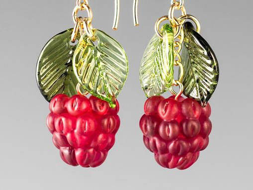 Custom Made Glass Raspberry Earrings With Light And Dark Leaves