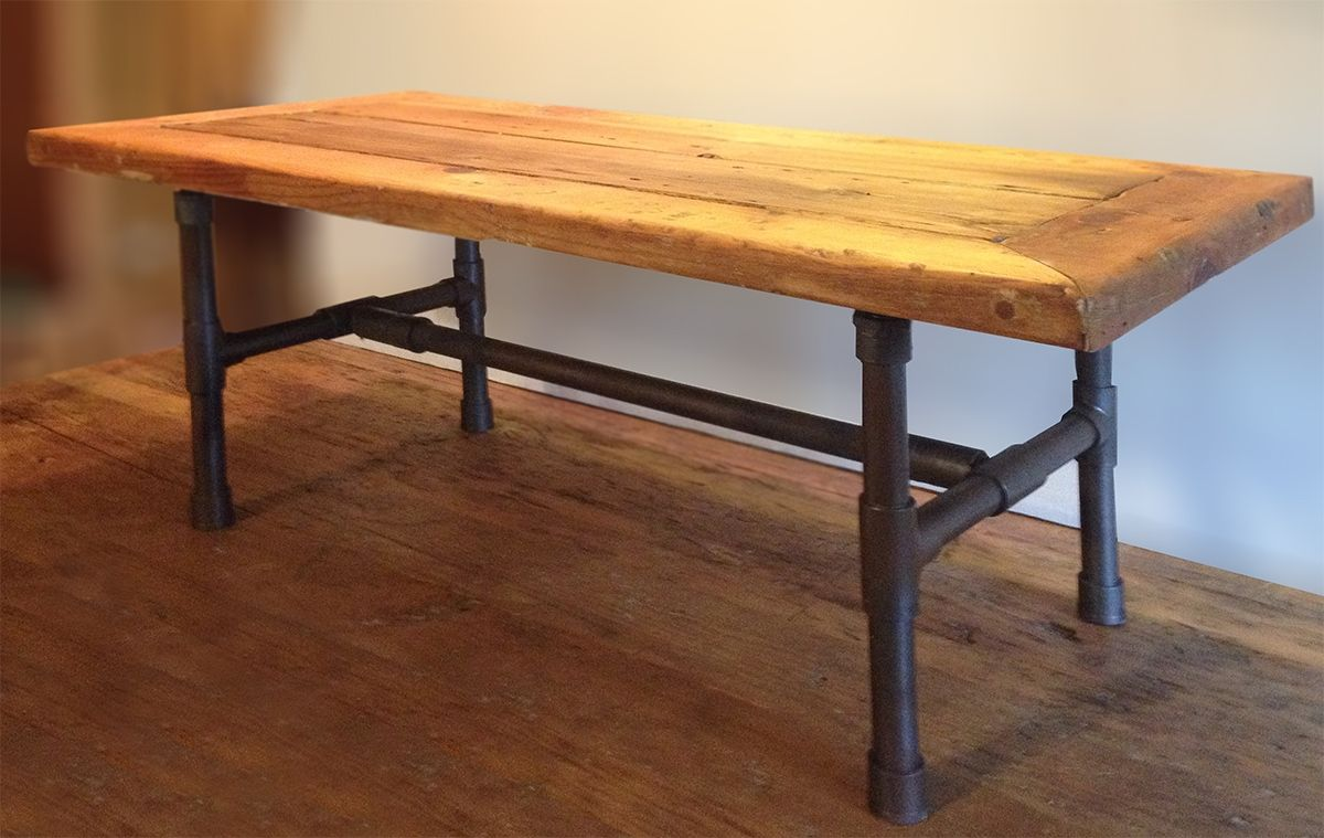 A Handmade Reclaimed Wood Pipe Leg Coffee Table Made To Order From Abodeacious Custommade Com
