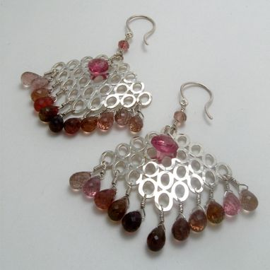 Custom Made One Of A Kind Sterling Silver Raincloud Earrings With Pink Tourmalines Graduated Tones