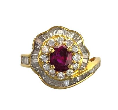 Custom Made Oval Ruby & Diamond Ballerina / Cocktail Ring - 18k Yellow Gold - July Birthstone