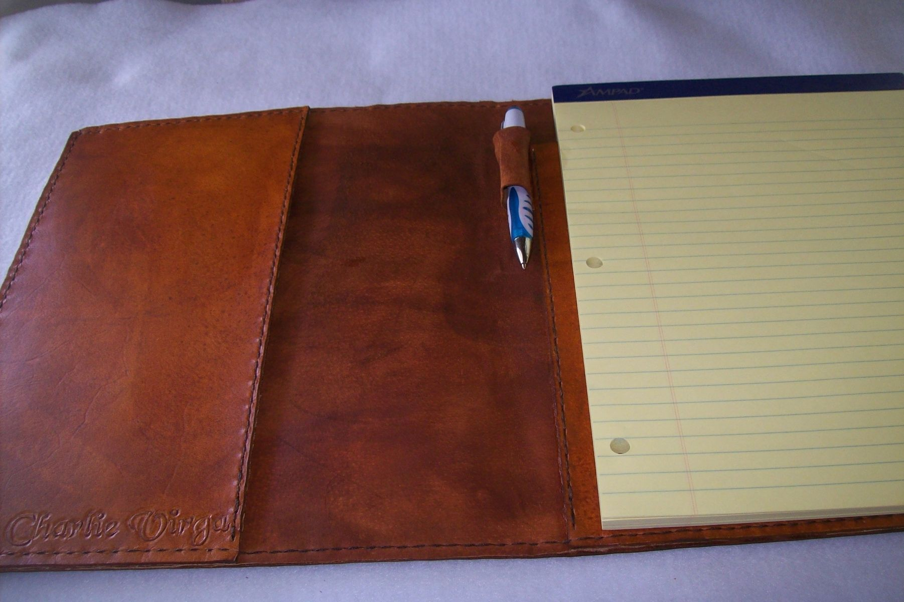 Custom Leather Portfolio With Diamond Sheridan Design In Canyon Tan By Kerry Phipps