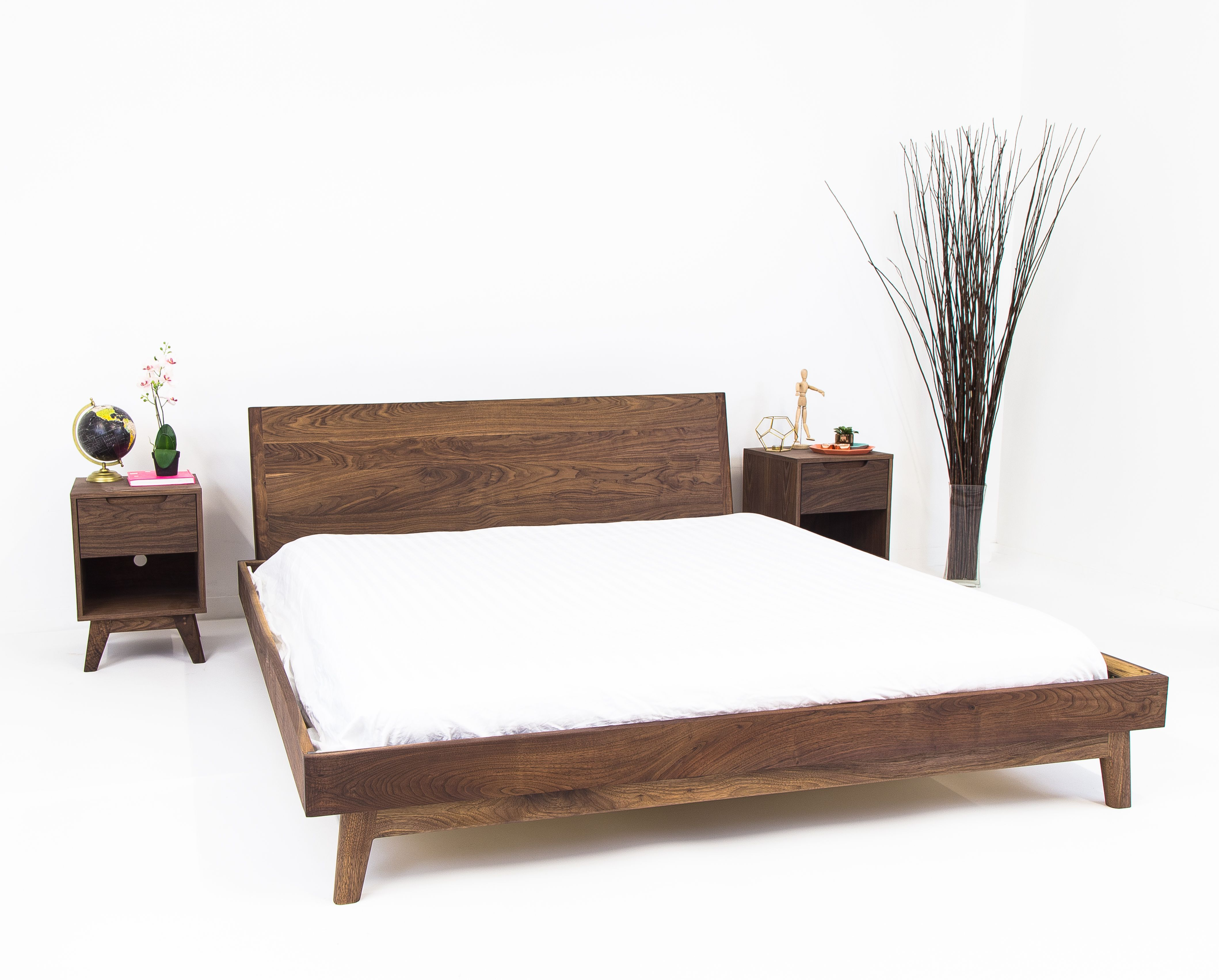 custom made the bosco  mid century modern solid walnut bed. buy a custom the bosco  mid century modern solid walnut bed made
