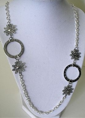 Custom Made Silver Tone Flower Necklace