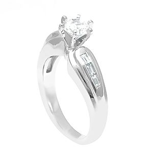 Custom Made Baguette Diamond Engagement Ring In 14k White Gold, Proposal Ring, Wedding Ring