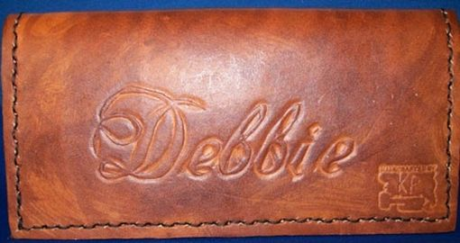 Custom Made Custom Leather Checkbook Cover With Cursive Personalization And In Weathered Color