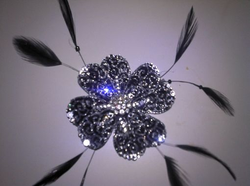 Custom Made Black And Silver Swirl Feathered Floral Hair Clip