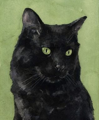 Custom Made Black Cat Watercolor Portrait