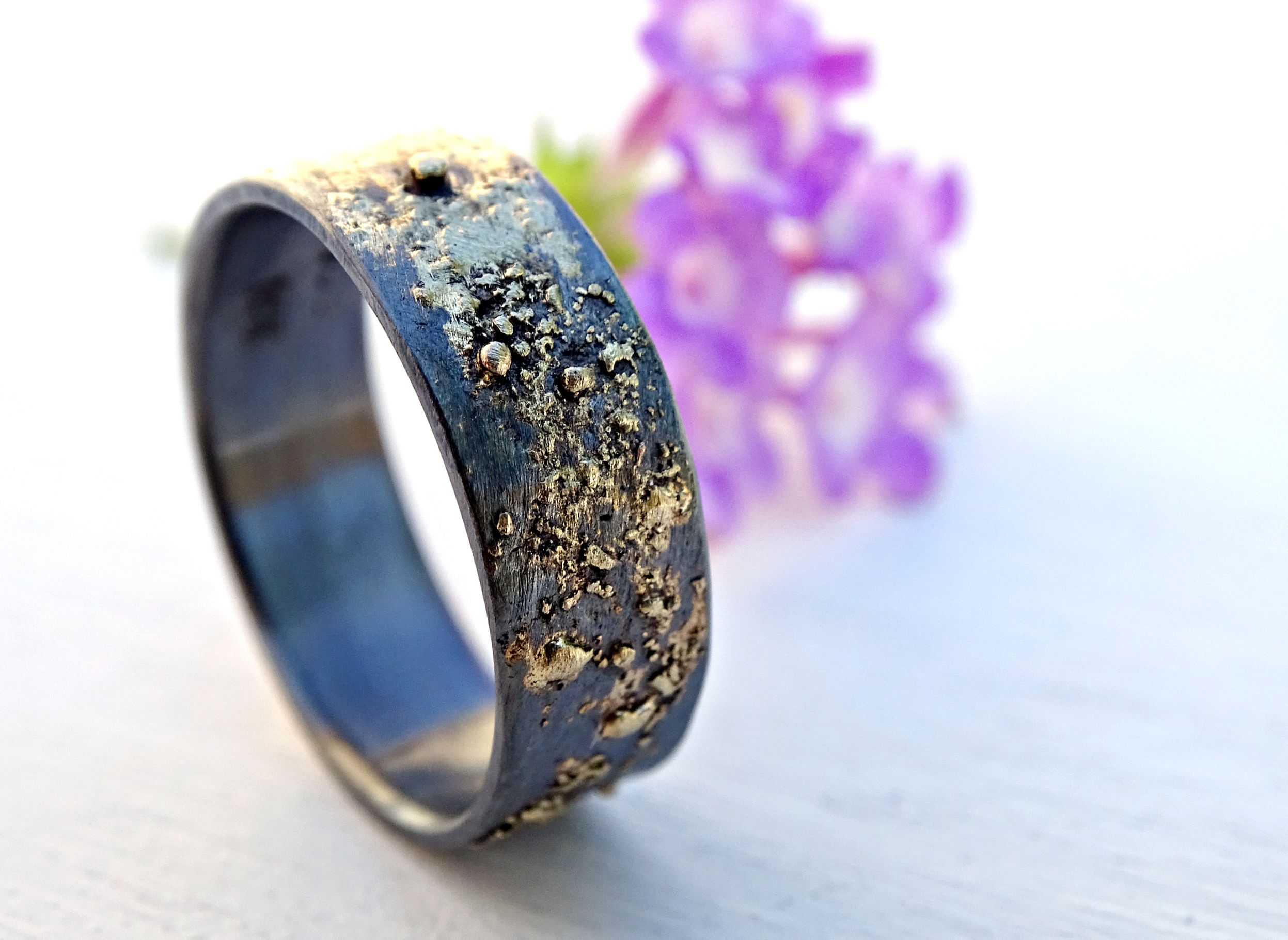 a custom black silver and gold ring unique wedding band two