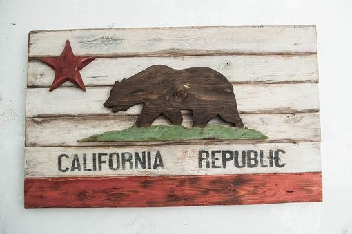 Custom Made California Republic Wooden Flag