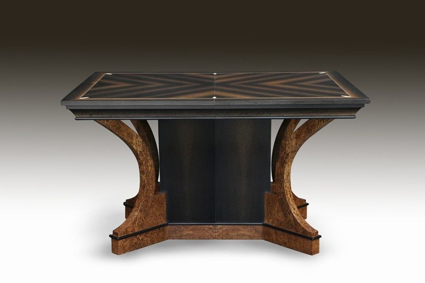Hand Crafted Art Deco Bog Oak And Ivory Dining Table By