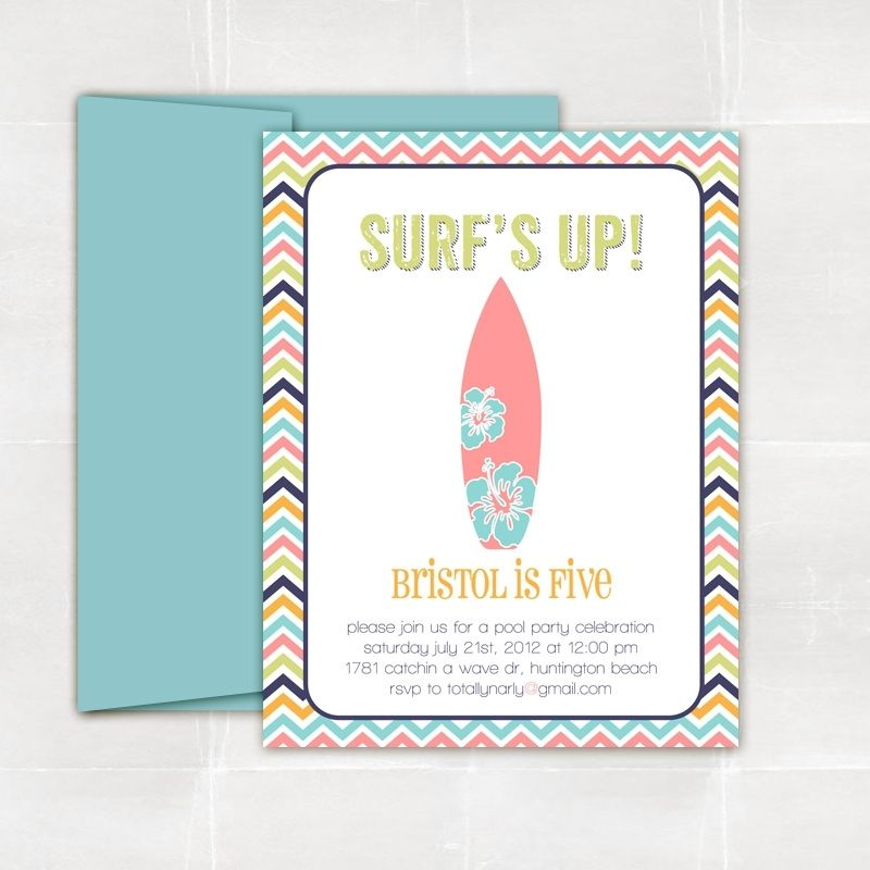 Hand Crafted Surfer Girl Party Invitations by Elle & Bean ...